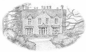 Line drawing of a country house